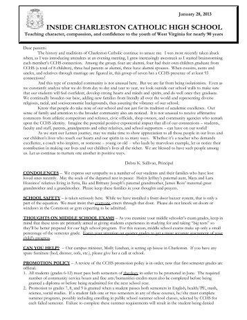 Newsletter - Charleston Catholic High School
