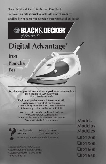Digital Advantage™ - Applica Use and Care Manuals