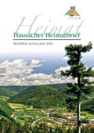 Hausacher Heimatbrief 2010