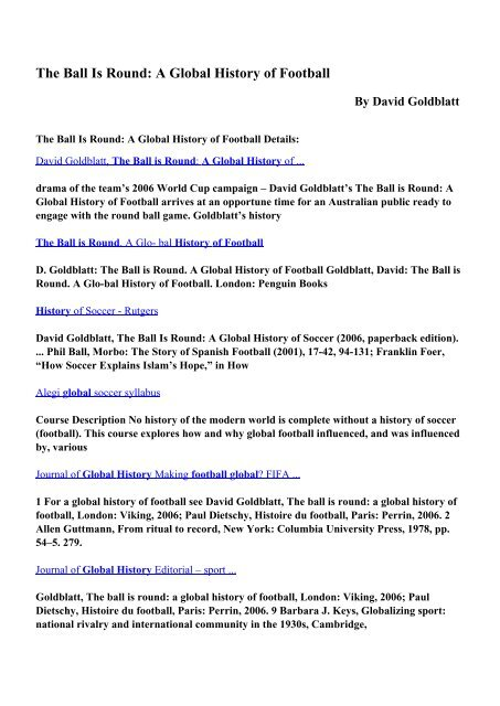 Download The Ball Is Round: A Global History of Football pdf