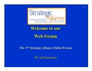 Welcome to our Web Forum - Strategic Alliance