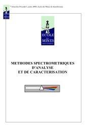methodes spectrometriques d'analyse et de caracterisation