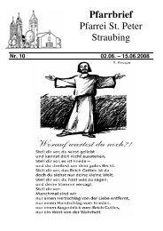 1 x 100.- € / 1 x 200.- € / 3 x 500. - der Pfarrei St. Peter in Straubing