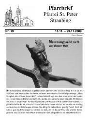 16:00 Schülermesse - der Pfarrei St. Peter in Straubing