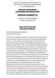 ANSPRACHE VON BENEDIKT XVI. - der Pfarrei St. Peter in Straubing