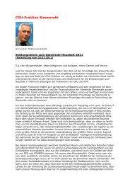 Stellungnahme zum Haushalt 2011 - bei dem CDU ...