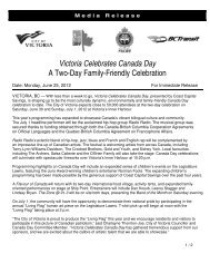 Victoria Celebrates Canada Day A Two-Day Family-Friendly ...