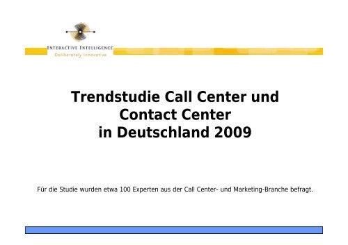 InIn Trendstudie Call Contact Center 2009 - Callcenter-Profi