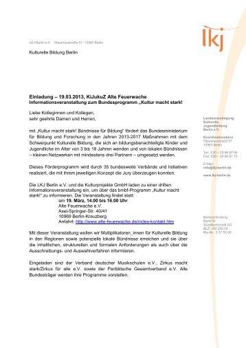 Einladung – 19.03.2013, KiJukuZ Alte Feuerwache