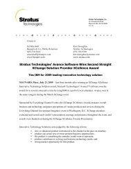 Stratus Technologies' Avance Software Wins Second Straight ...