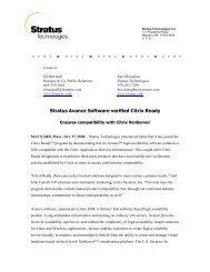 Stratus Avance Software verified Citrix Ready - Stratus Technologies
