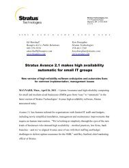 Stratus Avance 2.1 makes high availability automatic for small IT ...