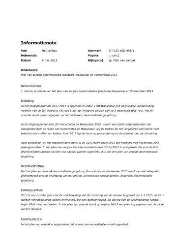 Informatienota Z-7102 Plan van aanpak decentralisatie jeugdzorg ...
