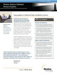 Stratus Avance Software Versus Clusters - Stratus Technologies