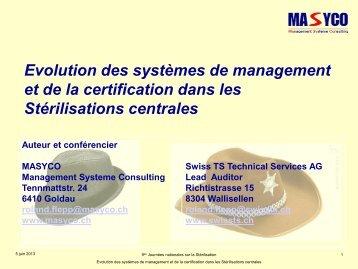 Certification des Stérilisations centrales - Société Suisse de ...