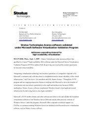 Stratus Technologies Avance software validated under Microsoft ...