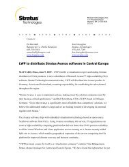 LWP to distribute Stratus Avance software in Central Europe