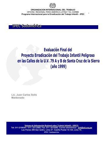 Evaluación Final del Proyecto Erradicación del Trabajo Infantil ...