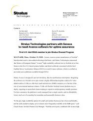 Stratus Technologies partners with Seneca to resell Avance ...