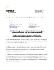 Avance software as SMB availability alternative - Stratus Technologies