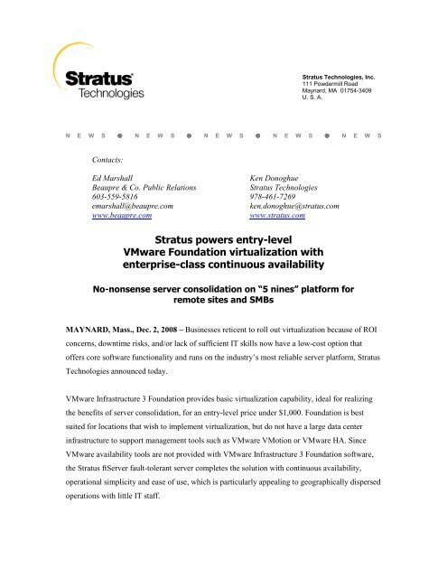 Stratus powers entry-level VMware Foundation virtualization with ...