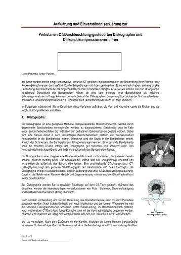 Aufklärung fü eine Dekompression oder Diskographie - Praxis für ...
