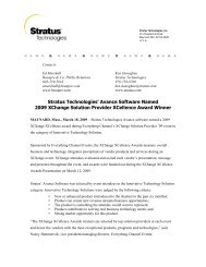 Stratus Technologies' Avance Software Named 2009 XChange ...