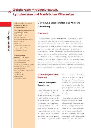 Zelltherapie mit Granulozyten, Lymphozyten und ... - Hämotherapie