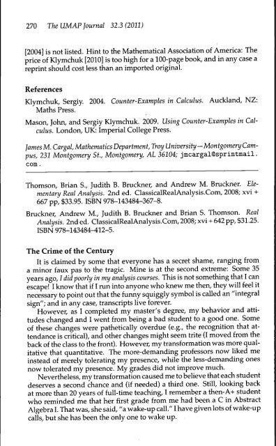 270 The UMAP Journal 32 3(2011) [2004