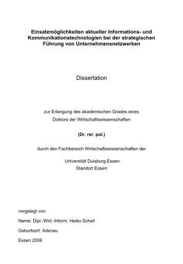 2 Unternehmensnetzwerke - bei Duepublico - Universität Duisburg ...