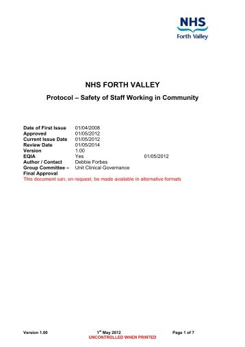 lone worker nhs forth valley