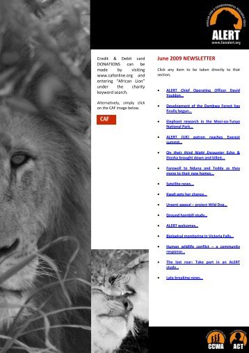 June 2009 NEWSLETTER - African Lion & Environmental Research ...