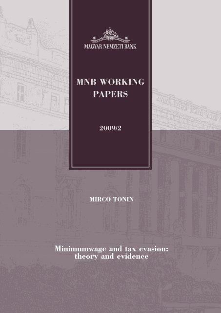 Minimumwage and tax evasion: theory and evidence - Magyar ...