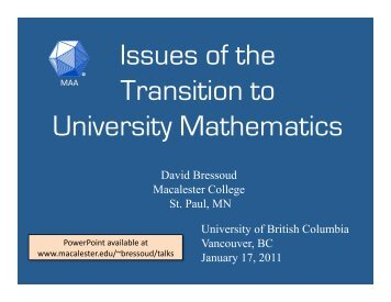 Issues of the Transition to University Mathematics - cwsei ...