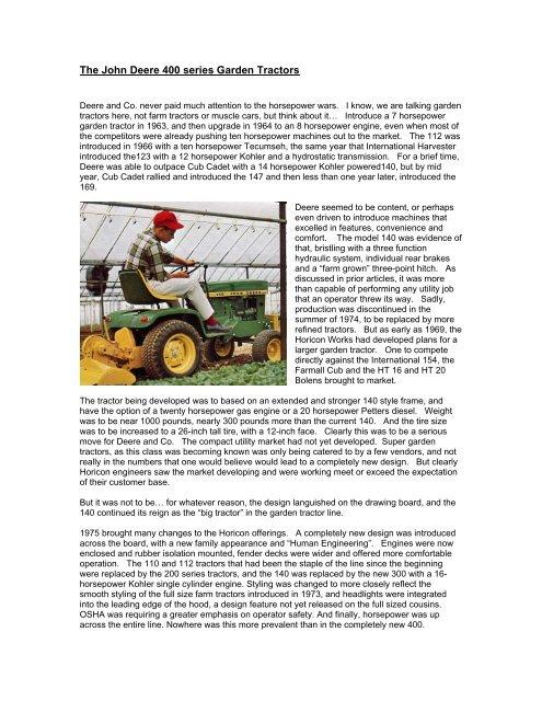 Weekend Freedom Machines >> 400 Series Garden Tractors Weekend Freedom Machines