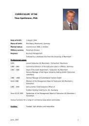 Curriculum Vitae of Mr. Theo Spettmann - Agrana
