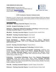 FOR IMMEDIATE RELEASE Media Contact - Cotc.edu
