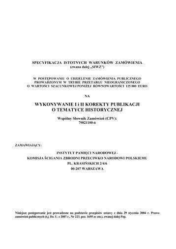 SIWZ - Biuletyn Informacji Publicznej Instytutu Pamięci Narodowej