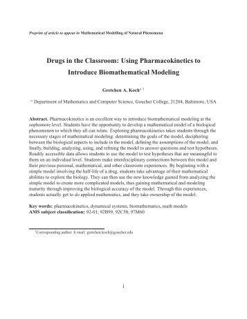 Using Pharmacokinetics to Introduce Biomathematical Modeling