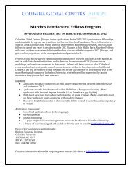 Niarchos Fellowship Application - Columbia Global Centers