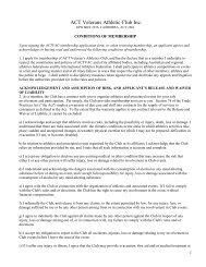 ACTVAC Conditions of Membership - ACT Veterans Athletics Club