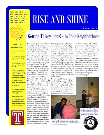 Getting Things Done! - In Your Neighborhood - Project SHINE