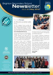 Brighton Secondary School Newsletter May 2012