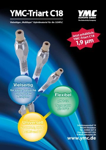 Bestellnummern YMC-Triart C18, 1,9 µm - YMC Europe GmbH