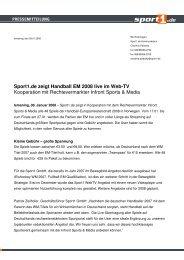 Sport1.de zeigt Handball EM 2008 live im Web-TV Kooperation mit ...