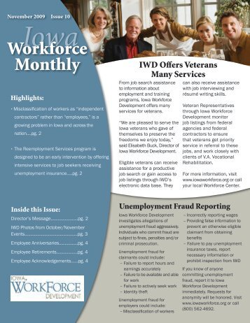 November 2009 - Issue 10 - Iowa Workforce Development