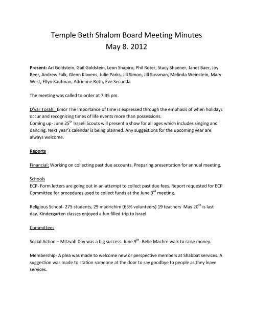 Temple Beth Shalom Board Meeting Minutes May 8  2012