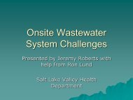 Onsite Wastewater System Challenges - Salt Lake County