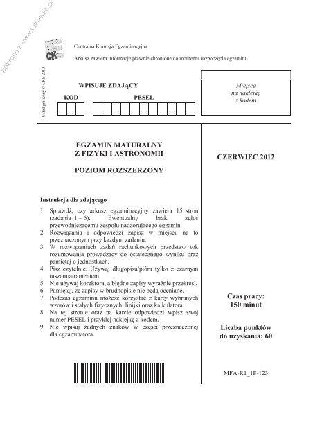 EGZAMIN MATURALNY Z FIZYKI I ASTRONOMII ... - Sqlmedia.pl