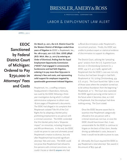 EEOC Sanctioned by Federal District Court of Michigan